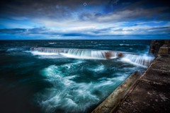 Wall of Water (Augmented Reality Images (Getty Contributor)) Tags: canon clouds coastline colours harbour landscape leefilters littlestopper longexposure morayfirth portknockie rocks scotland water waves