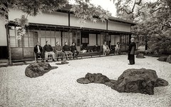 Lecture in the stone garden (PeterThoeny) Tags: saratoga california siliconvalley sanfranciscobay sanfranciscobayarea hakonegardens rocks stones stonegarden garden japanesegarden traditionaljapan tradition japan meditation zenmeditation buddhism priest buddhistpriest outdoor day 2xp raw nex6 selp1650 photomatix hdr qualityhdr qualityhdrphotography monochrome blackandwhite sepia fav100