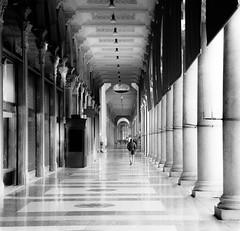 Morning Walk (PixStone) Tags: milan duomo street photography monochrom black white italy architecture pattern columns walk perspective tile nikon d7100 gallery galleria vitorio emanuele ii