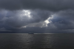 Ferry to Larkspur Landing (fksr) Tags: clouds sky water sanfranciscobay morning dramaticsky landscape seascape california ferry boat