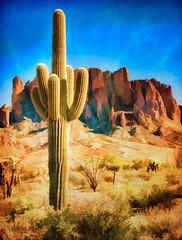 Saguaro Cactus - Textured (byron bauer) Tags: byronbauer desert cactus saguaro scrub brush mountain cliff blue sky painterly texture topaz simplify arizona outdoor desolate southwest