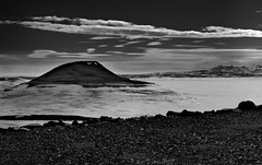 Sandfell (627 m) from the near mine over Kárahnjúkar (Umer Javed) Tags: kárahnjúkar iceland ísland fujifilm xq1 europe austurland snow mountains sky monochrome blackandwhite whiteandblack rocks clouds abstract fine artsy f11 spring