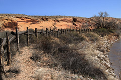 Log Fence (arbyreed) Tags: arbyreed fence fencedfriday woodenfence logfence sanjuanriver sanjuancountyutah sage brush trees redrocks redsandstone river water hff