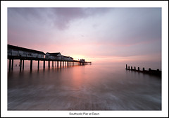Southwold Pier at Dawn (bullboy1983) Tags: sea seaside seascape coast coastal sunrise dawn earlymorning longexposure southwold southwoldpier calm sky suffolk peaceful england ndfilter redsky groyne