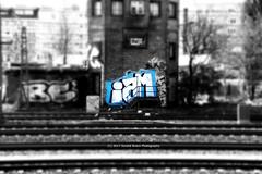 117/365 - Identity... (Sinuhé Bravo Photography) Tags: canon eos7d selectivecolor graffiti blue berlin sbahn traintracks