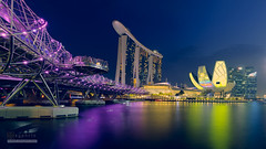 Icons in new light (syphrix photography) Tags: singapore syphrix marina bay sands art science museum water waterfront river helix bridge blue hour dusk evening skyline icon travel urban cityscape ilight commercial building office long exposure 2017 fuji panorama