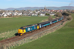 37402 Millom 25th March 2017 (John Eyres) Tags: 37402 approaching millom with 2c48 1156 carlisle lancaster 250317