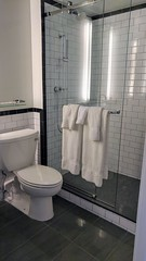 Shower and Toilet at the Renwick Hotel (Evan Didier) Tags: renwick renwickhotel curiocollection hilton newyorkcity newyork hotel galleryking king cityview room bathroom toilet shower showerhead towels tile tilefloor