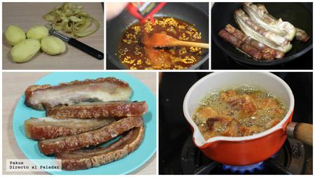 Bacon with potatoes revolconas. Snacking recipe