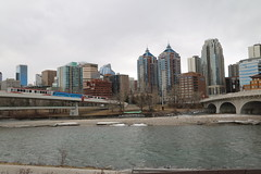 Heading downtown for the Vimy parade in Calgary (davebloggs007) Tags: calgary albertacanada ctrain lrt bow river
