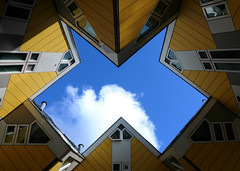 untitled (rotterdam, netherlands) (bloodybee) Tags: 365project kubuswoningen paalwoningen boomwoningen cubehouse pietblom architecture rotterdam netherlands holland europe house building yellow blue white sky clouds window roof kijkkubus