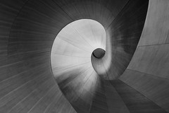 Down the Rabbit Hole (Alan Amati) Tags: amati alanamati toronto ontario canada gallery art museum stairs stair curved circular spiral spiralstaircase curves monochrome blackandwhite blackwhite bw abstract artistic baroque frank gehry lookingup down rabbit hole sensuious sensual serpentine