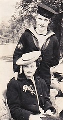 Lady and a Sailor (Bury Gardener) Tags: blackandwhite bw oldies old vintage portrait sailor navy military