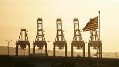 Port of Long Beach (jonbzo4) Tags: unitedstatesofamerica flag starsandstripes sonya6000 sel55210 sony portoflongbeach longbeach california usa intothesun sunset a6000 livealoha