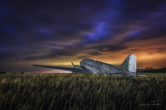 DC-3 into the Storm (Jonathan Tasler) Tags: dc3 plane vintage field grass kansas bluehour aircraft storm