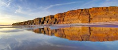 Down by the seaside (pauldunn52) Tags: cliffs cwm nash reflection wet sand glamorgan heritage coast wales sunset evening limestone