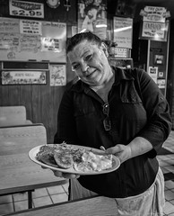 Her First (piano62) Tags: chicago oldschool portrait streetscenes streetportraits diners eggs sausage hashbrowns blackandwhite monochrome sonya7rii sony28mmf2