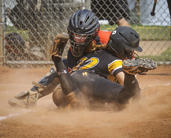 Home plate collision (Mark Chandler Photography) Tags: 2016 7dmarkii asa americansoftballassociation cobbcounty cobbcountyparks jocup juniorolympiccup lostmountainpark markchandler softball action athlete athletes athletics ball bat batter canon color colour field game girls national photo photography sport sports stock