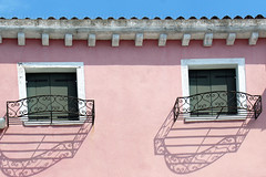 Pink (raffaella.rinaldi) Tags: house details pink blue sky geometries pattern shadows railing window burano venice