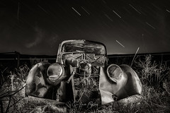 Return (Chris Lakoduk) Tags: blackandwhite mono light painting star trails night long exposure car abandoned grant county chris lakoduk return experimental minimal stars haunted eerie spooky awesome
