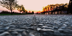 Ground Level-3378 (MVMoorePhotography) Tags: sunset groundlevel park walkway evening spring landscape outdoors stone bench