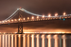 Lighting Up a Foggy Night (Kristin Repsher) Tags: baybridge bridge california d700 fog foggy longexposure nightlights nikon reflections sanfrancisco sanfranciscobay sf usa