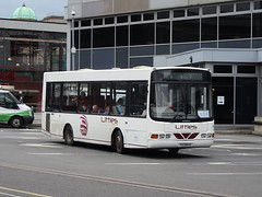Littles YAZ8645 Derby (Guy Arab UF) Tags: littles b4 yaz8645 1999 dennis dart slf wright crusader derby bus station derbyshire independent buses gills travel ulsterbus 645