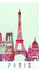Paris landmarks watercolor poster (kangkang300402) Tags: europe france paris skyline watercolor background abstract color splash colorful art grunge illustration bright creativity architecture cityscape landmark monuments poster