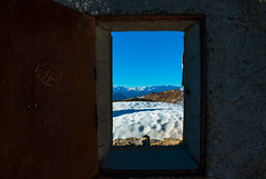 The window (Luca Cambriglia) Tags: window view italy france europe chaberton mountain top rock house army barrack metal history sky cloud blue snow panorama photo photography beauty art nikon nikkor d60 hike trekking climb pain gain peace relax composition zoom dlsr