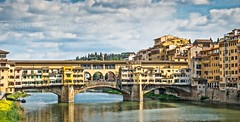 Ponte Vecchio, Florence. (simonvaux1) Tags: ponte vecchio florence medieval bridge river arno shops jewellery watches goldsmiths wooden shutters italy tuscany water colours simon vaux photography