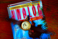 Double Issue (LeftCoastKenny) Tags: analog magazine fossil saturated doubleexposure text watch utata ironphotographer utata:description=hide doubleissue utata:project=ip174