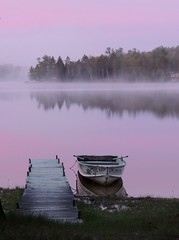 Advantages/Disadvantages of Birding Trips (JanUpClose) Tags: mist lake sunrise dawn bay boat dusk michigan nettie
