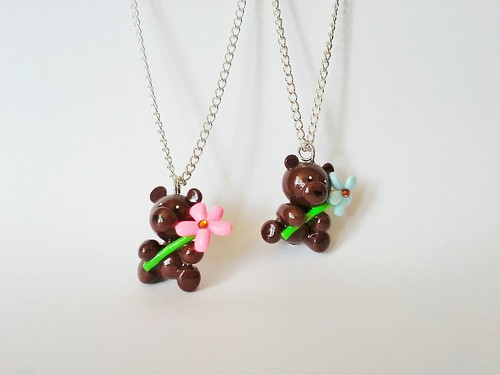 Flower Bear necklaces