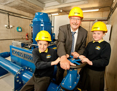 Finance Minister, Sammy Wilson, today officially switched-on the new hydro electricity power generator at All Children's Integrated Primary School. Photographed with the Minister are Philip George P7 and Maya Ballentine P7 (Northern Ireland Executive) Tags: newcastle dfp hydroelectricity financeministersammywilson allchildrensintegratedprimaryschool