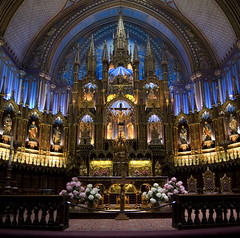 Altar Basilique Notre Dame (LunaticDesire) Tags: ca old city trip travel flowers blue winter holiday canada color building travelling tourism church colors beautiful architecture america easter photography gold lights march spring nikon colours view cross montréal quebec interior religion praying jesus north sightseeing saints tourist canadian ceiling altar holy northamerica inside dslr notre dame qc impressive province protestant vieux basilique basiliquenotredame d40 2013