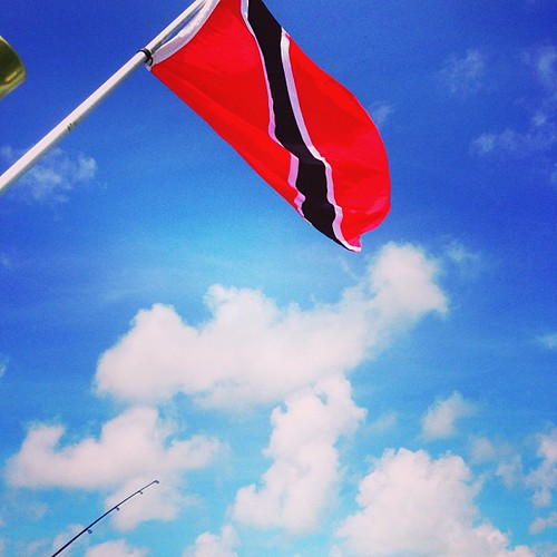 #Trinidad flag hovering over the #fish for luck #izatrini