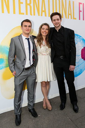 Patrick Wallace, Andrew Rothney and Scarlett Mack and other cast members at the photocall for Blackbird outside the Filmhouse