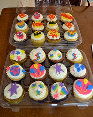 My Little Pony/Superhero cupcakes (aimerlee) Tags: woman wonder cupcakes little chocolate spiderman cutie superman marks pony cupcake superhero batman vanilla fondant buttercream