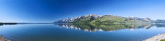 20130831_F0001: Teton mountain range over Jackson Lake (wfxue) Tags: park blue sky panorama mountain lake nature water grass landscape mirror nationalpark hill calm reflect wyoming wilderness teton range grandteton jacksonlake mtmoran