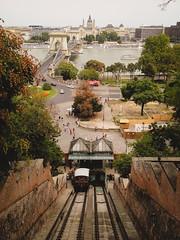 Chain bridge dall'alto, Budapest (PiE81) Tags: bridge river fiume budapest railway cable chain funicular ungheria funicolare danubio generalviews