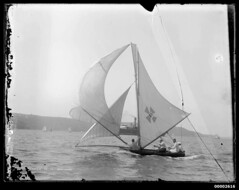 14-footer MARJORIE sailing on Sydney Harbour