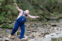 Bear Hike-T-4x6 3782 (Mike WMB) Tags: bear beard bald hike overalls