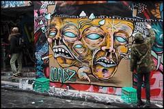 TA260155 - Artist at work (Derek Midgley) Tags: street artist bright cigarette melbourne lane colourful hosier loadz