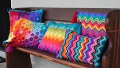 crochet cushion collection (rettgrayson) Tags: design rainbow spectrum crochet diamond pillow pixel hexagon colourful pew cushion chevron zigzag harlequin missoni biggan