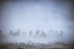 When it comes. (Carlos Nizam) Tags: people mountain temple sand aerial sandstorm bromo candi mtbromo