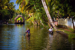 Backwaters, Kerala (ross_123) Tags: travel trees india man men river photography locals indian paddle houseboat kerala palm canoe photograph jungle tropical nikkor backwaters vr kerela alleppey alappuzha 18200mm