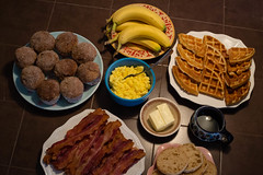 rainy day brunch (jojoannabanana) Tags: breakfast muffins bacon bananas butter doughnut eggs brunch englishmuffins cinnamonsugar 3652014