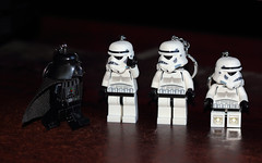 Darth inspects the troops (Les Mellor) Tags: starwars keyring lego darth stormtrooper vader troops minitures
