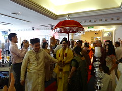 Hindu wedding. The groom is reluctantly dragged to the wedding dais. (denisbin) Tags: bridegroom hinduwedding kumar sydney wedding marriage groom hindu ritual rite umbrella colourful