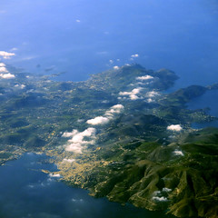 Syros, Greece 2 (giovanni paccaloni) Tags: sea port europe altitude fromabove greece cyclades mediterraneansea aerials windowseat planeview aegeansea ermoupoli airviews skyviews capitaltown aegeanislands